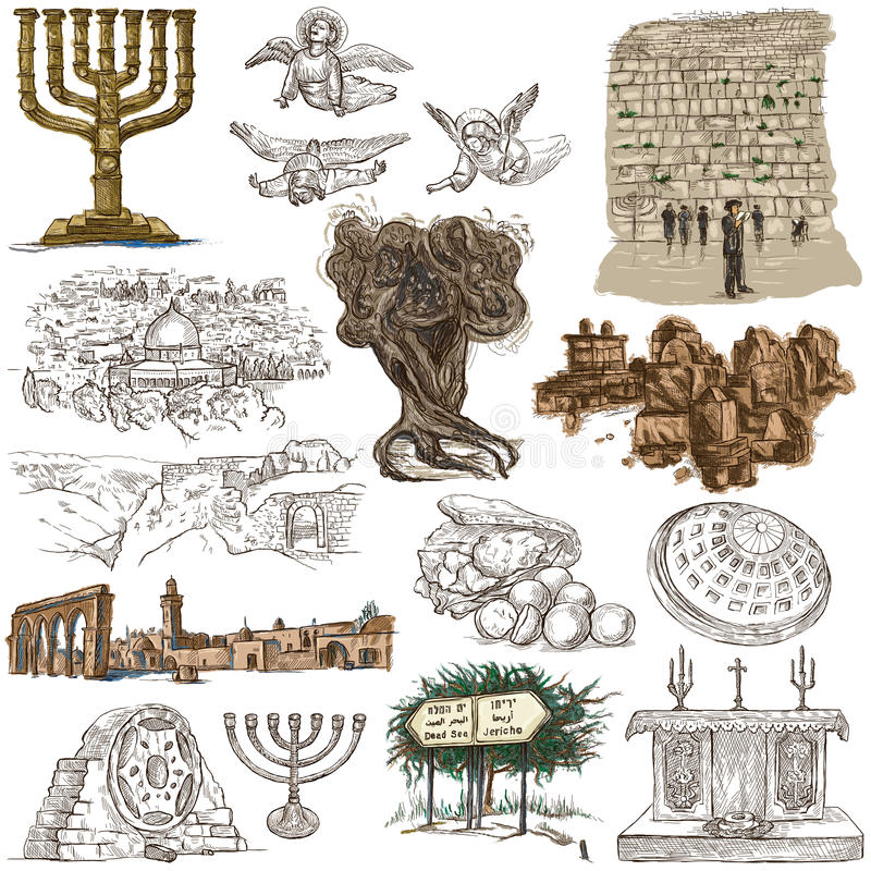Israel - en hand dragen samling Normalformat freehands royaltyfri illustrationer
