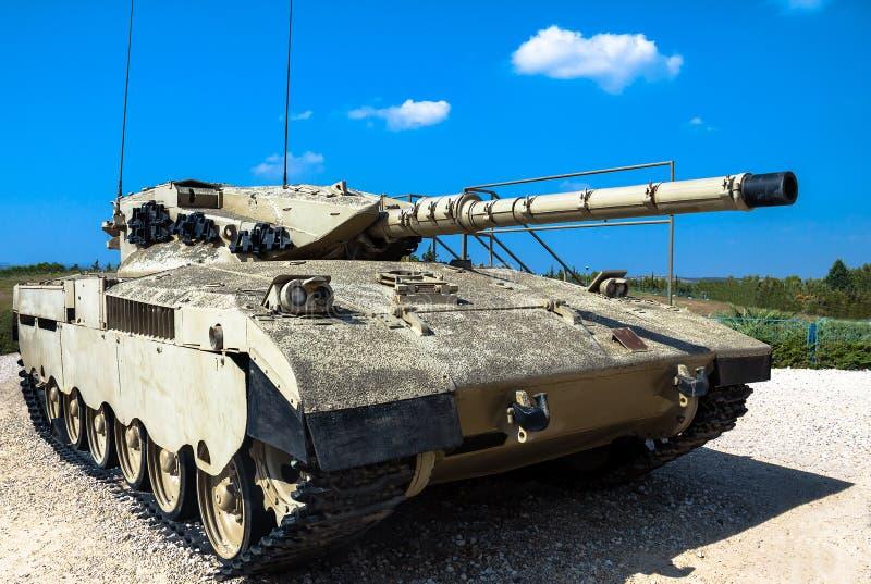Israel fez-me a tanque de guerra Merkava Mk Latrun, Israel fotos de stock royalty free