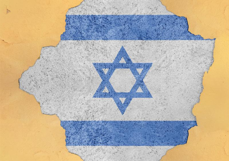 Israel flag in big concrete cracked hole and broken material facade. Structure royalty free stock image
