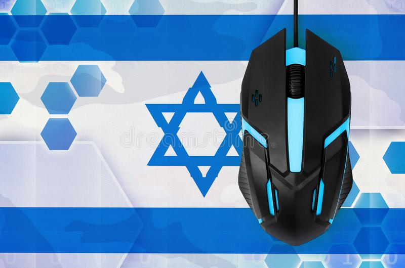 Israel flag and computer mouse. Concept of country representing e-sports team. Israel flag and modern backlit computer mouse. Concept of country representing e royalty free stock images