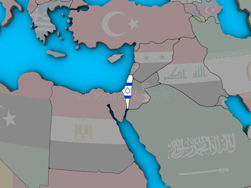 Israel with flag on 3D map stock illustration