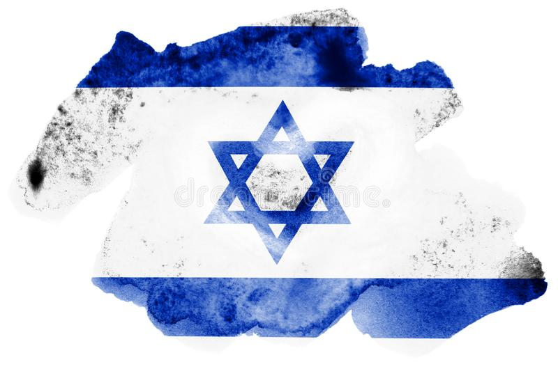 Israel flag is depicted in liquid watercolor style isolated on white background. Careless paint shading with image of national flag. Independence Day banner stock images