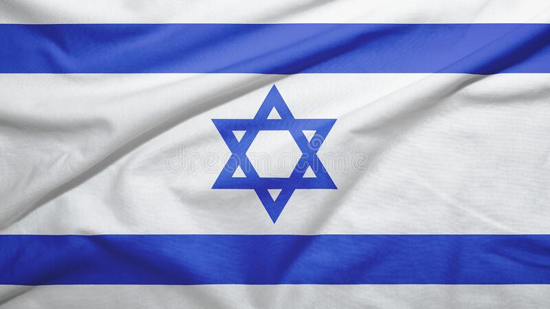 Israel flag with fabric texture. Israel waving flag on the fabric texture royalty free stock photo
