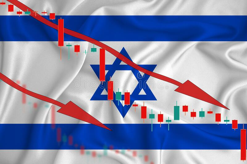 Israel flag, the fall of the currency against the background of the flag and stock price fluctuations. Crisis concept with falling. Stock prices of companies royalty free stock photos