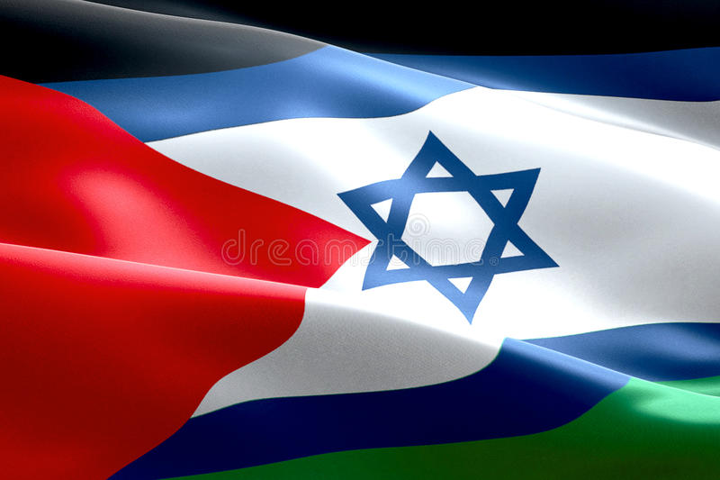 Israel flag inside of palestine flag gaza strip waving texture fabric background, crisis of israel and islam palestine, union peac. E concept stock illustration