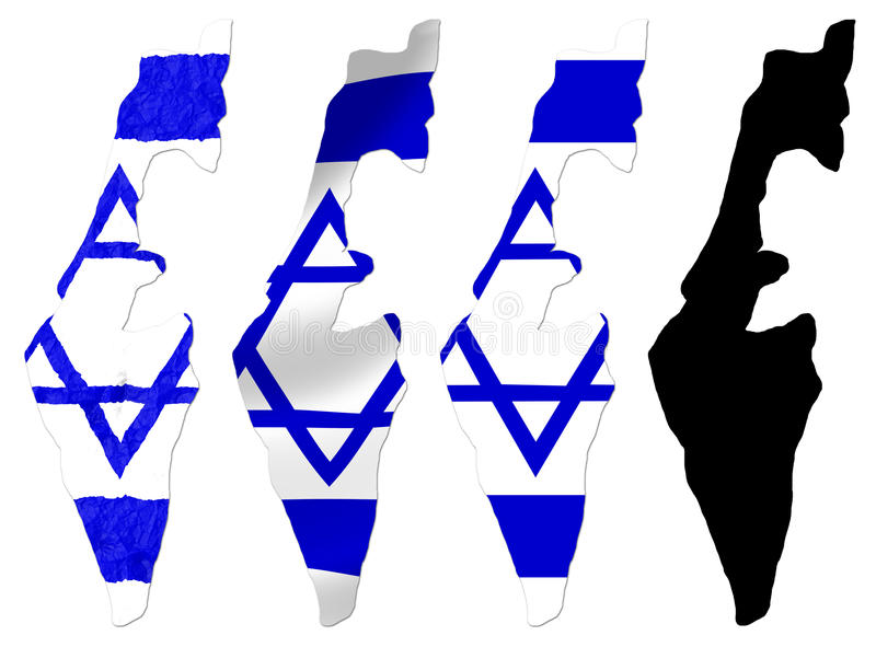 Israel flag over map. Collage royalty free illustration