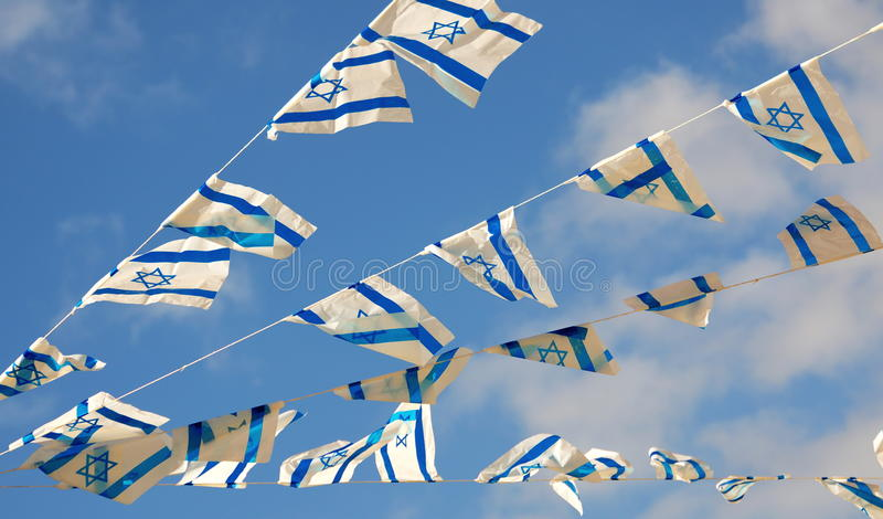 Israel Flag sulla festa dell'indipendenza fotografia stock libera da diritti