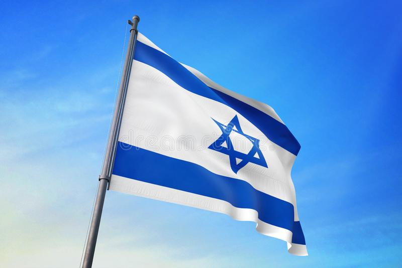 Israel flag waving on the blue sky 3D illustration. Israel flag waving on the blue sky on the wind stock illustration