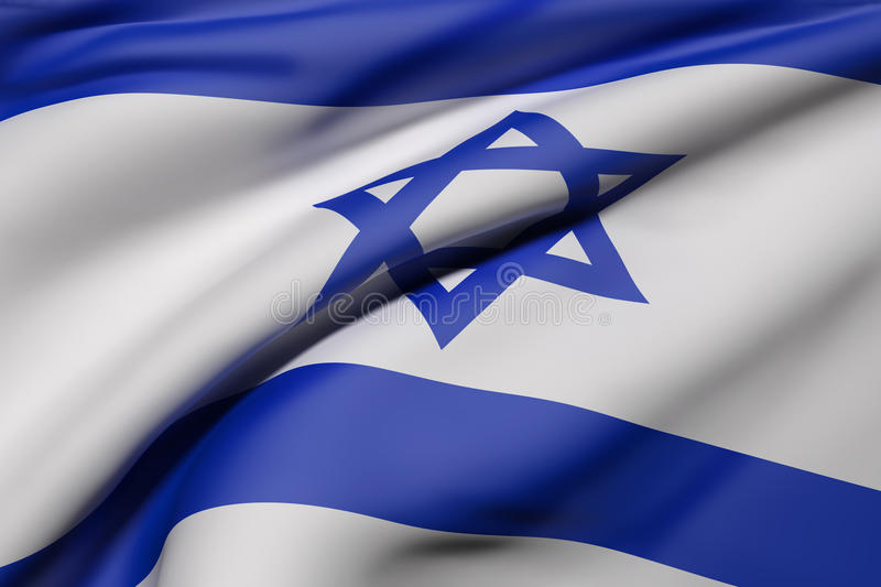 Israel flag waving. 3d rendering of Israel flag waving stock illustration