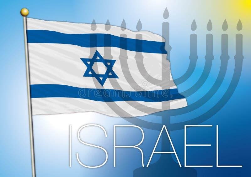 Israel flagga och menoror vektor illustrationer