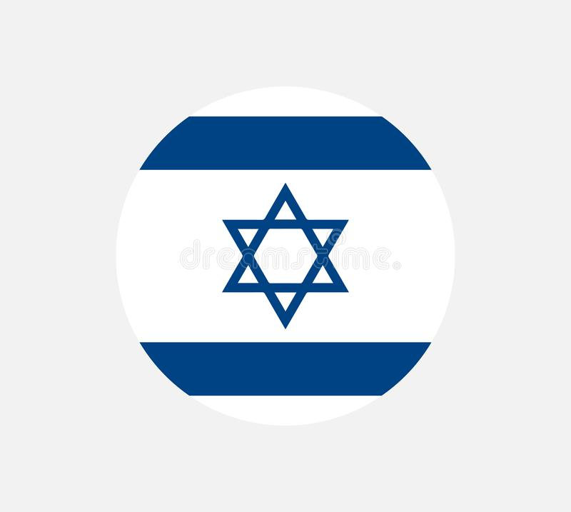 Israel flagga, officiella färger och proportion korrekt MedborgareIsrael flagga Plan vektorillustration stock illustrationer
