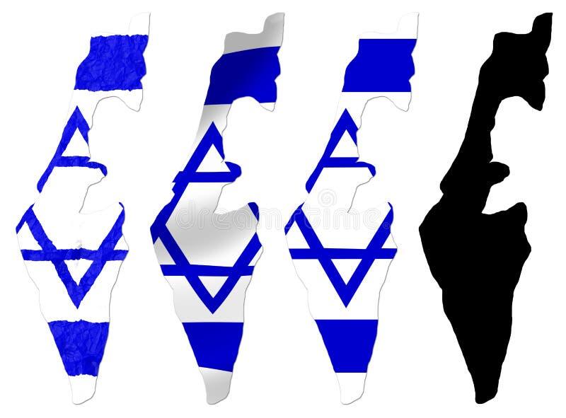 Israel-Flagge über Karte lizenzfreie abbildung