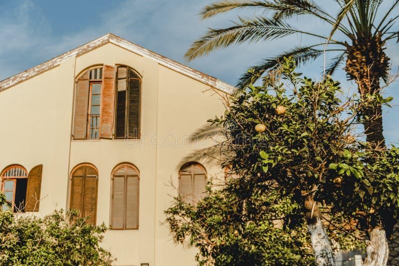 Israel gammal byggnad i neve-tzedek Turist- ställe i Tel Aviv Arkitektur av mellersta öst fotografering för bildbyråer