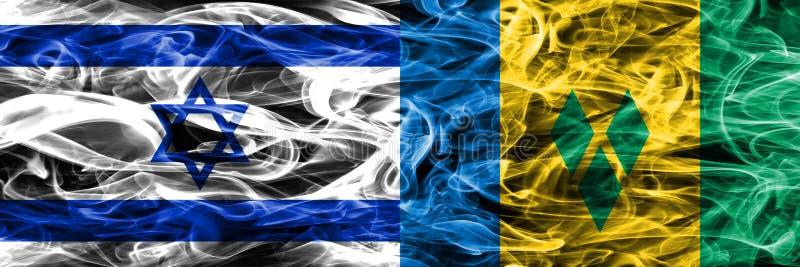 Israel gegen St. Vincent und die Grenadinen Rauchflaggen setzte Si vektor abbildung