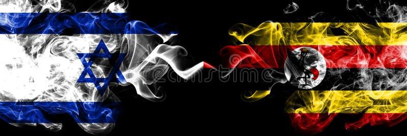 Israel gegen Uganda, Ugandan rauchige mystische Flaggen nebeneinander gesetzt Dickes gefärbt seidig raucht Flagge von Israel und  lizenzfreie abbildung