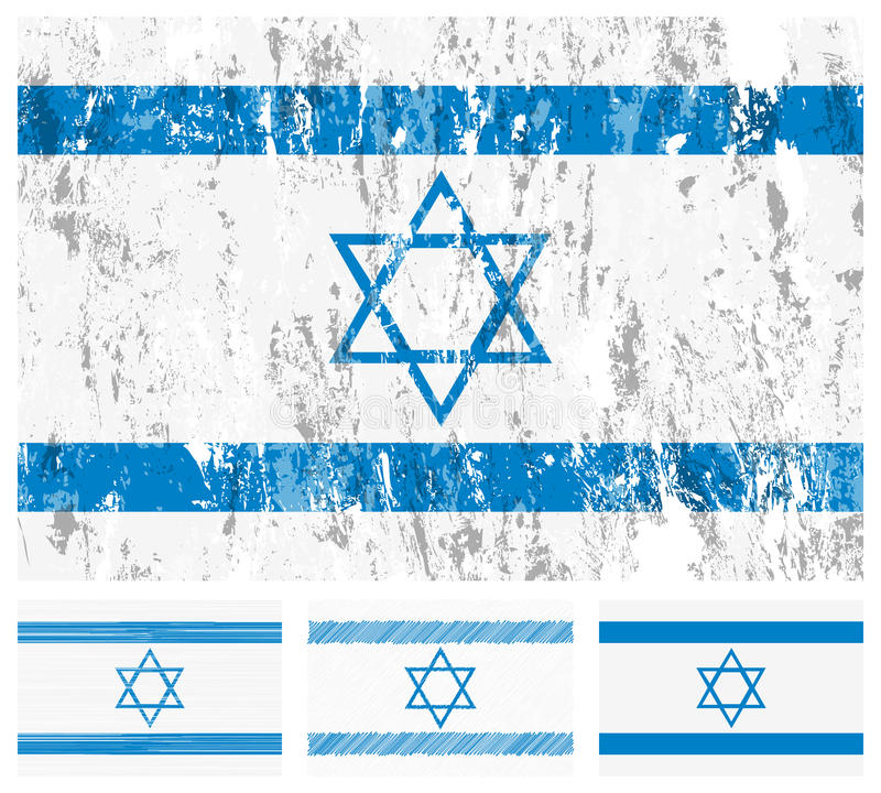 Israel grunge flag set vector illustration