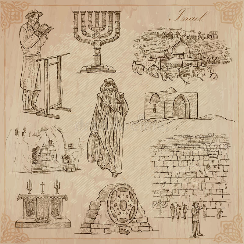Israel - An hand drawn collection. Vector pack. An hand drawn collection, Travel - ISRAEL. Description, Vector freehand sketches. Editable in layers and groups royalty free illustration