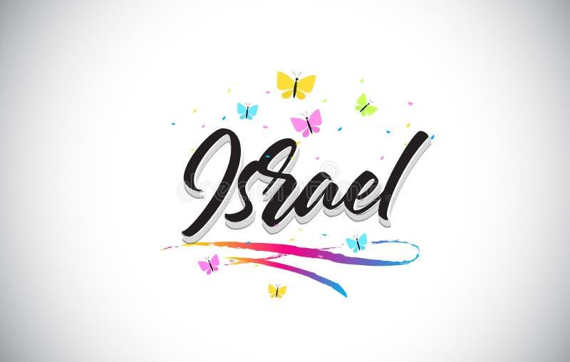 Israel Handwritten Vector Word Text med fjärilar och färgrik Swoosh vektor illustrationer
