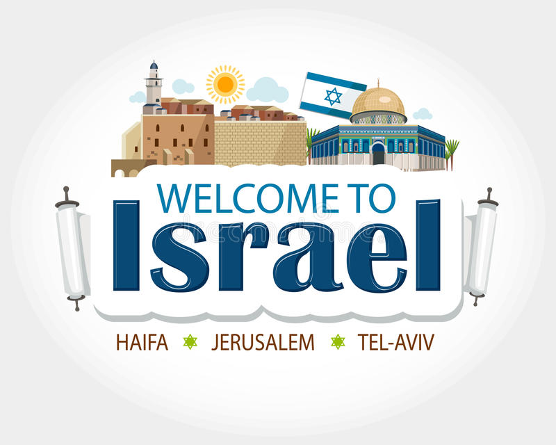 Israel header text. Sticker message haifa tel aviv jerusalem sight vector illustration