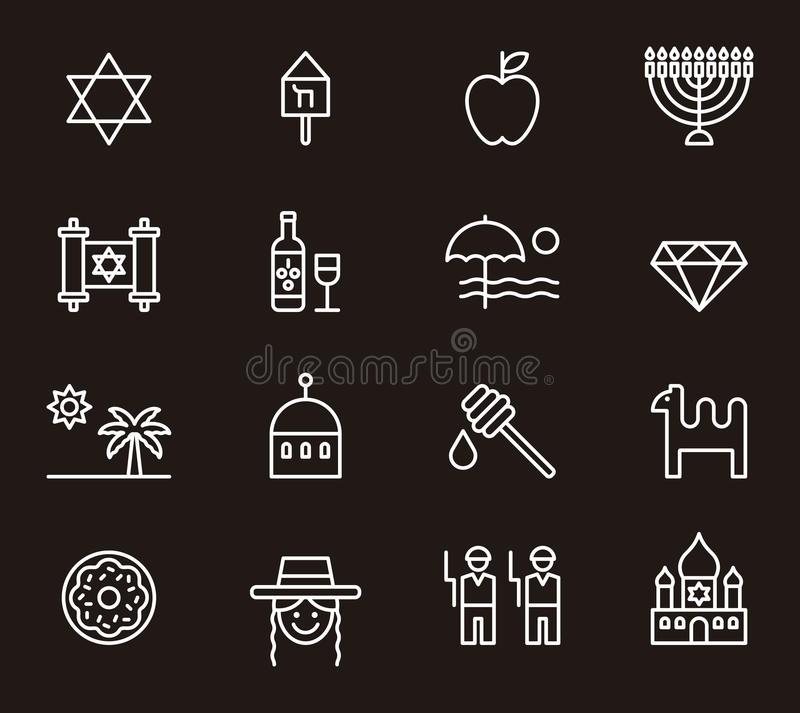 Israel icons. White outline icons relating to Israel on black background vector illustration