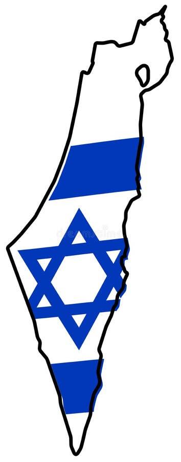 Israel including Palestine - Gaza strip and West bank simplifi. Ed map, with slightly bent flag under it stock illustration