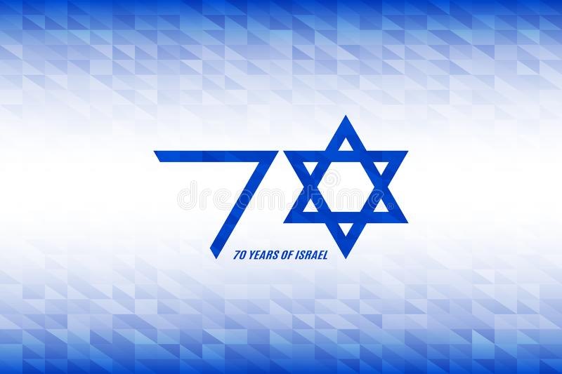 Israel Independence Day. 70 years of Israel banner. Flag colors on blue white geometric background. Vector illustration vector illustration
