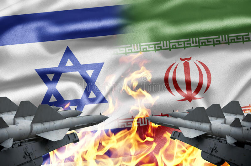 Israel and Iran. The confrontation between Israel and Iran stock image