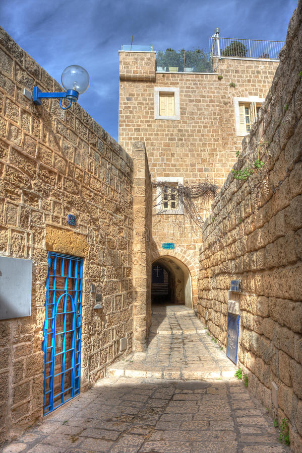 israel jaffa gammal gata royaltyfri bild