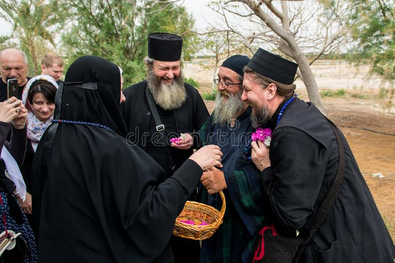 Israel / Jericho - 03.27.2016: a group of Orthodox pilgrims arrived at the monastery of St. Gerasim of Jordan royalty free stock image