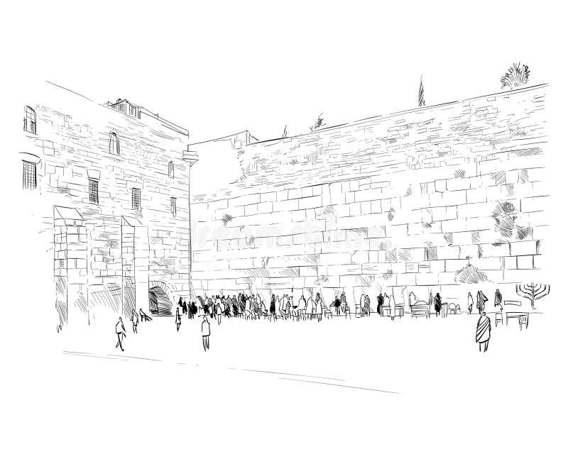 Israel jerusalén Pared de rasgones Bosquejo drenado mano Ilustración del vector stock de ilustración