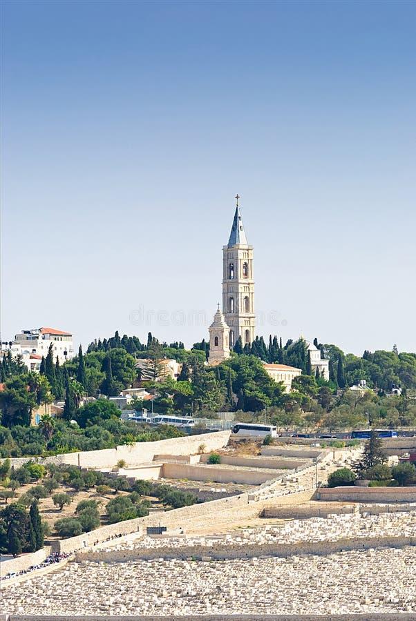 israel jerusalem alla välva sig sikt för tempel för ryss för del för centrala för cloisterrammontering olivgrön för nationer orto arkivbilder