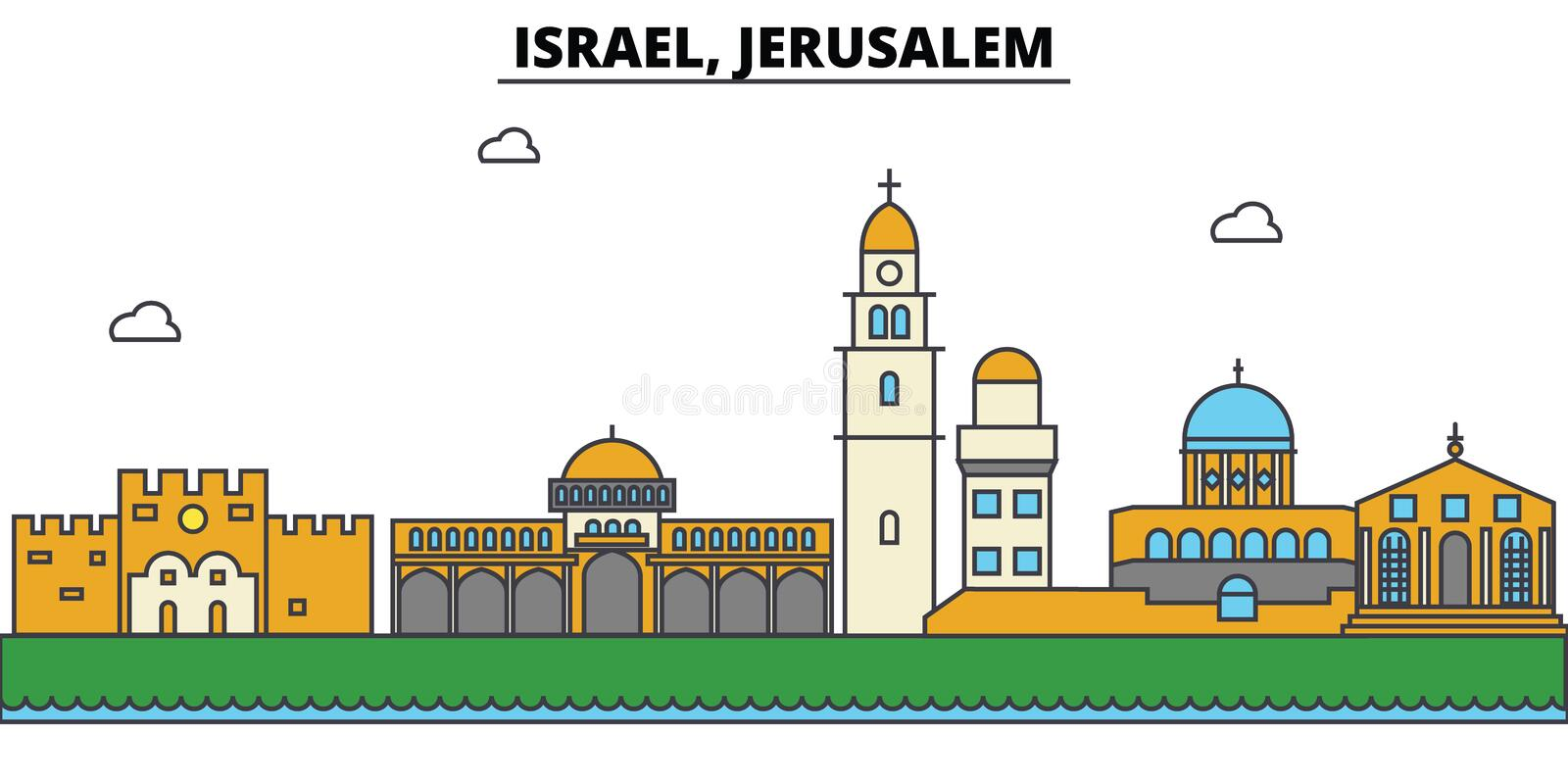 Israel, Jerusalem. City skyline architecture . Editable. Israel, Jerusalem. City skyline architecture, buildings, streets, silhouette, landscape, panorama stock illustration