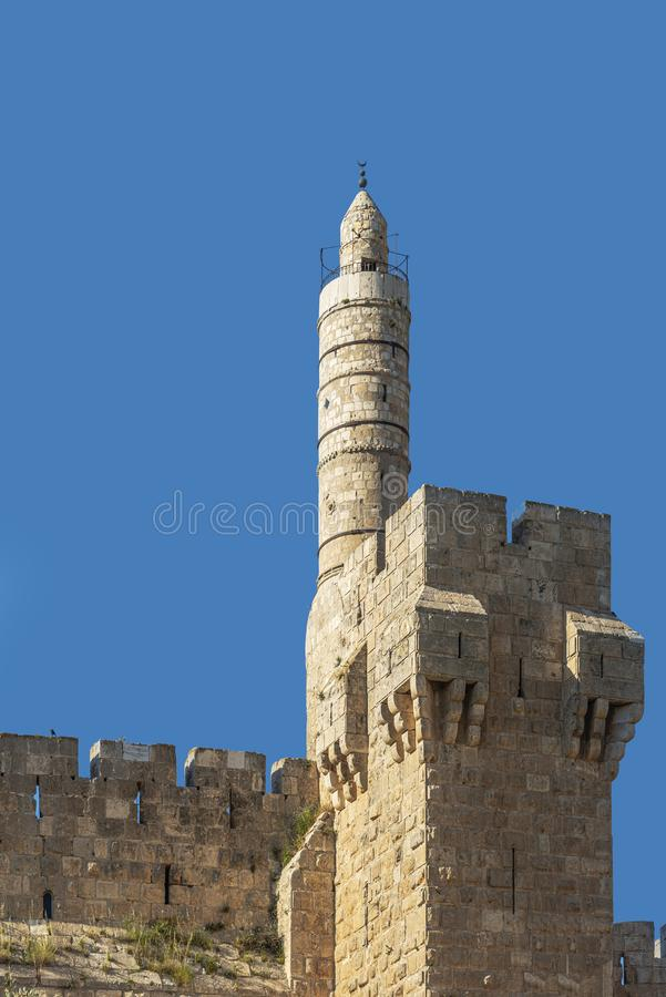 Israel-Jerusalem 12-05-2019 Close-up of the round tower adjacent to the city wall in the center of Jerusalem. Israel-Jerusalem 12-05-2019 stock image