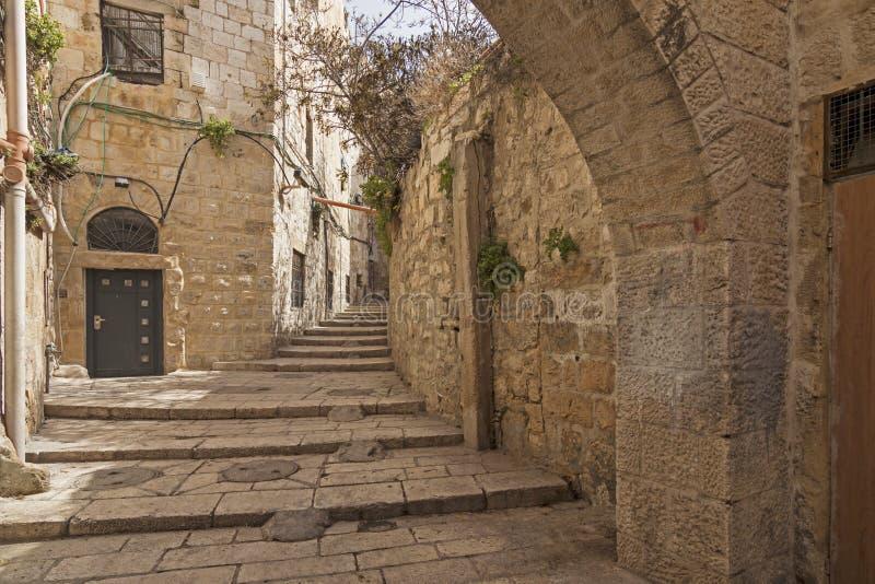 Israel - Jerusalem - gammal stad dold passage, trappa och ar arkivbilder