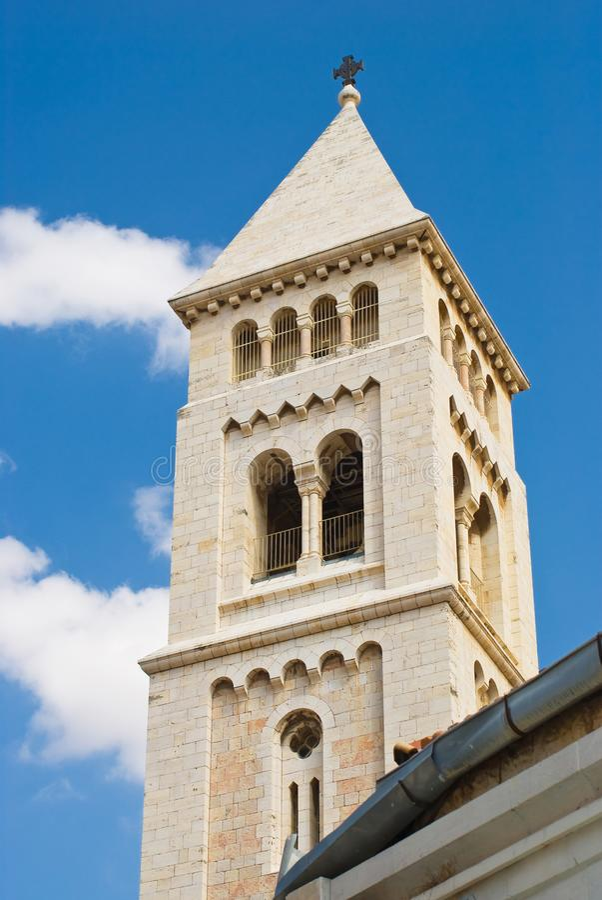 Israel Jerusalem Gamla staden Den tyska Lutheran Church of Kristus Redeemer royaltyfri foto