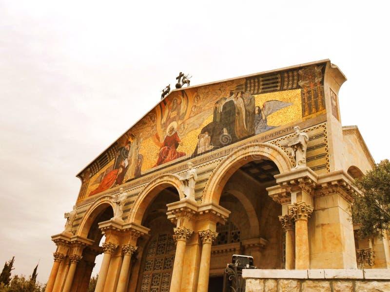 Israel, Jerusalem, kyrka eller basilika av dödskampen arkivbild