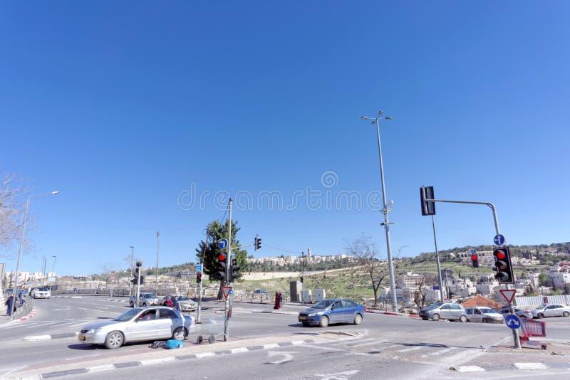 israel Jerusalem - Luty 19 2017 Samochodów rozdroża w Jerozolima blisko Starego miasta obrazy stock
