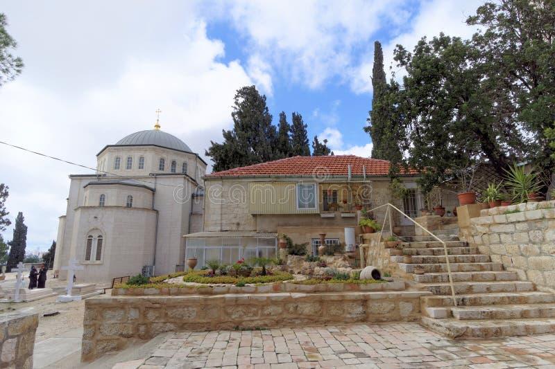 israel Jerusalem - Luty 15 2017 Wybawiciel wniebowstąpienie klasztor rosyjski kościół prawosławny w Jerozolima Góra O obrazy royalty free