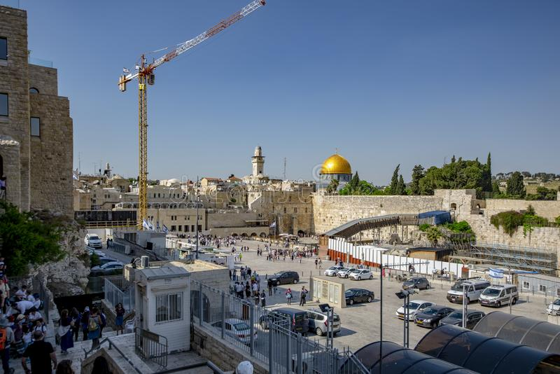 Israel-Jerusalem 12-05-2019 Panoramic view of Jerusalem Temple Square, from a high vantage point, the Wailing Wall, the entrance,. Israel-Jerusalem 12-05 royalty free stock photo