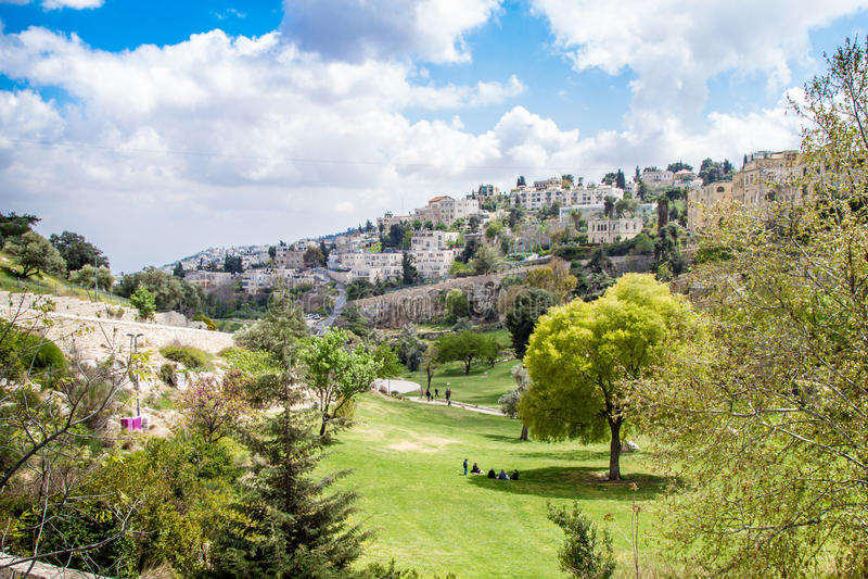 Israel Jerusalem Valley of Hinnom April 4, 2015 stock images