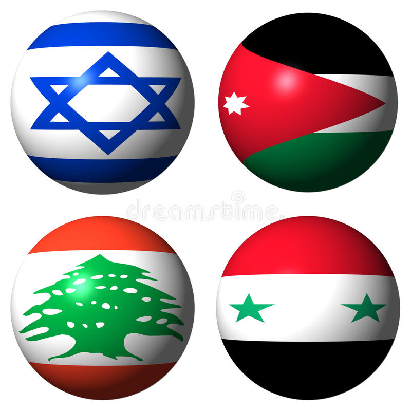 Israel Jordan Lebanon Syria Flags Royalty Free Stock Image