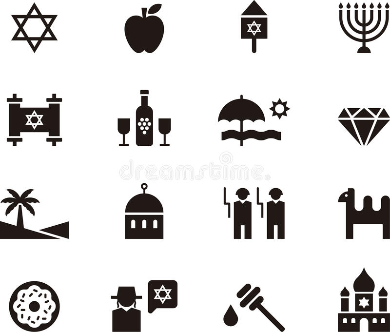 Israel and Judaism icon set. Black and white glyph flat icons relating to Israel and Judaism stock illustration