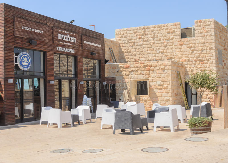 ISRAEL -July 30, - The restaurant is an open-air park in Caesarea, Israel- Caesarea 2015. In Israel stock photos