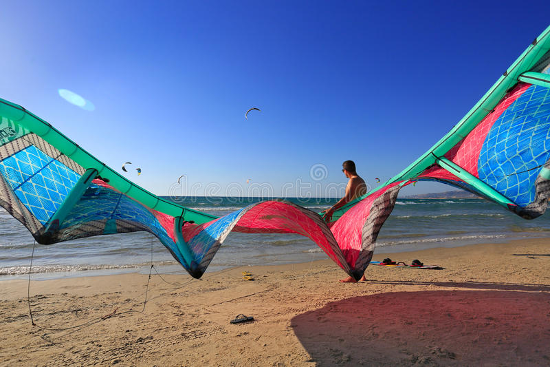 ISRAEL - June, 2016. Kitesurfing on the Mediterranean sea. royalty free stock photos