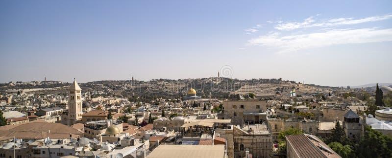 Israel-Landschaftsanziehungskräfte Jerusalem-Ansicht der alten Stadt und der neuen Großstadt Ansicht von der Spitze des Turms von stockfoto
