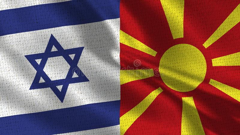 Israel and Macedonia Flag - Two Flags Together stock photography