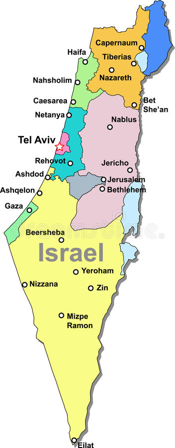 Israel map. Color Israel map with regions over white stock illustration
