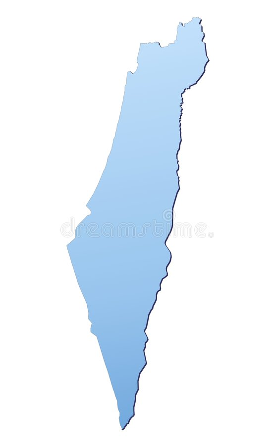 Israel map. Filled with light blue gradient. High resolution. Mercator projection vector illustration