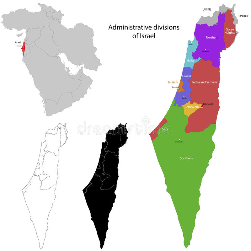 Israel map. Administrative division of the State of Israel royalty free illustration