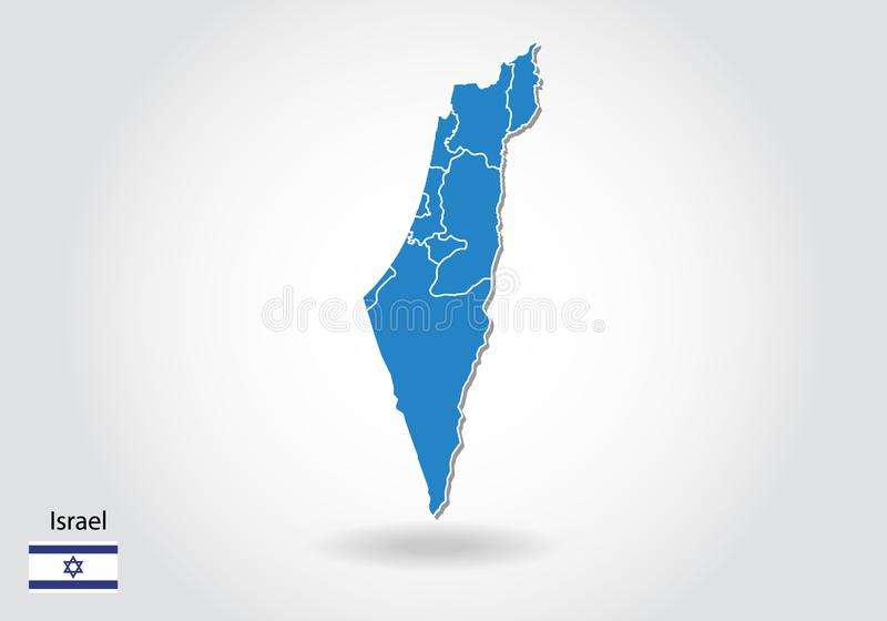 Israel map design with 3D style. Blue israel map and National flag. Simple vector map with contour, shape, outline, on white royalty free illustration